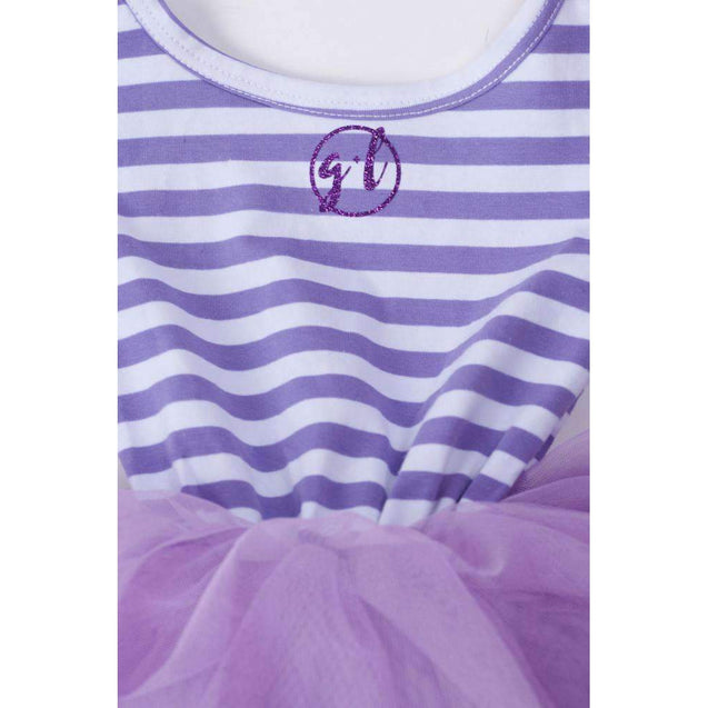 "1st Birthday Dress Purple Script ""ONE"" Purple Striped Sleeveless - Grace and Lucille"