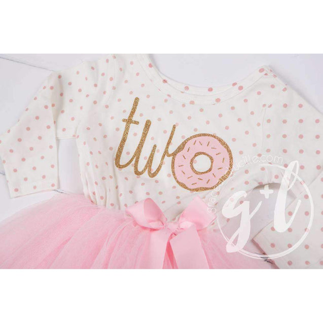 "2nd Birthday Outfit Pink Polka Dot Donut ""TWO"" Long Sleeve Tutu Dress with Party Hat or Headband - Grace and Lucille"