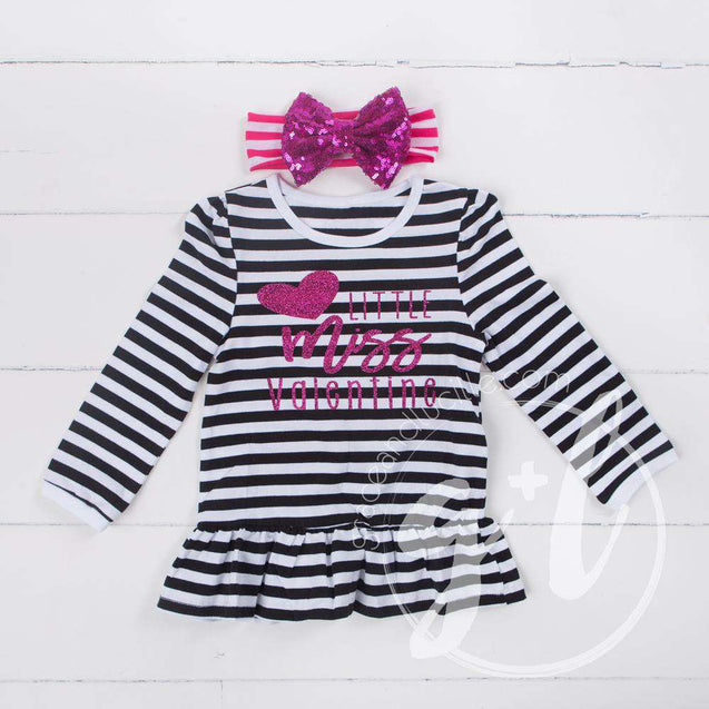 Little Miss Valentine Ruffled Hem Striped Top & Magenta Bow Headband - Grace and Lucille