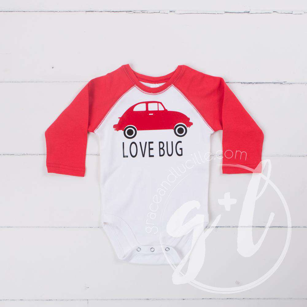 Love Bug Boys Valentines Raglan Sleeve Shirt or Onesie