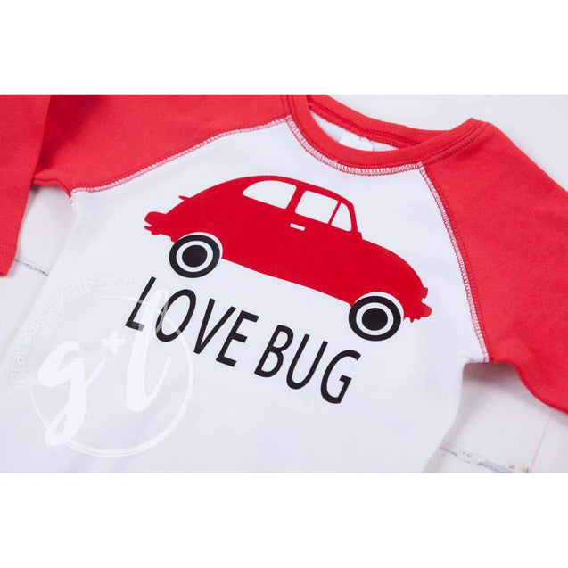 Love Bug Boys Valentines Raglan Sleeve Shirt or Onesie - Grace and Lucille