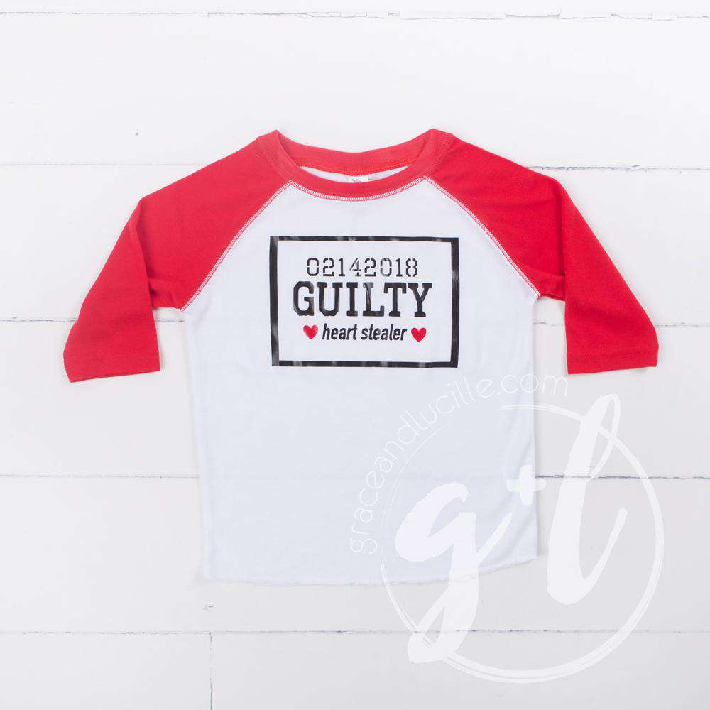 "Heart Stealer ""Guilty"" Boys Shirt or Onesie for Valentines Day"