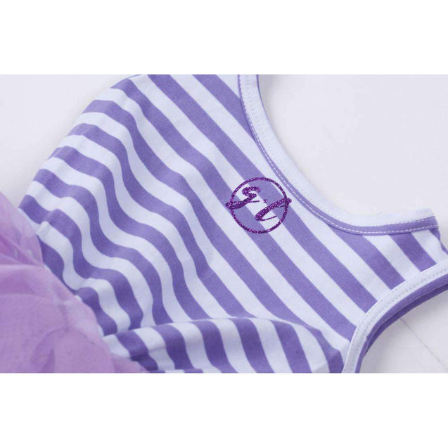 "1st Birthday Mermaid Dress Aqua Shell ""ONE"" on Purple Striped Sleeveless - Grace and Lucille"