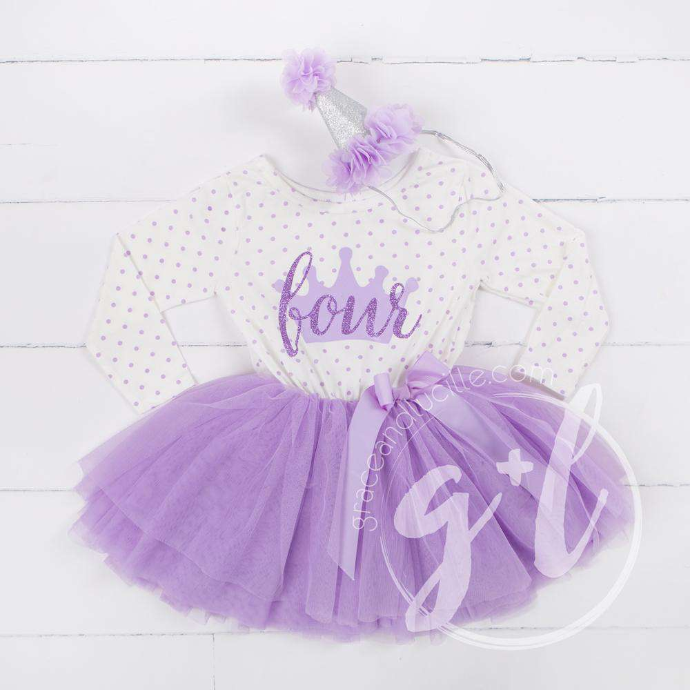 "4th Birthday Outfit ""FOUR"" Crown Purple Polka Dot Long Sleeve Dress & Purple /Silver Party Hat - Grace and Lucille"