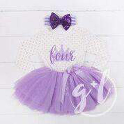 "4th Birthday Outfit ""FOUR"" Crown Purple Polka Dot Long Sleeve Dress & Purple Bow Headband - Grace and Lucille"