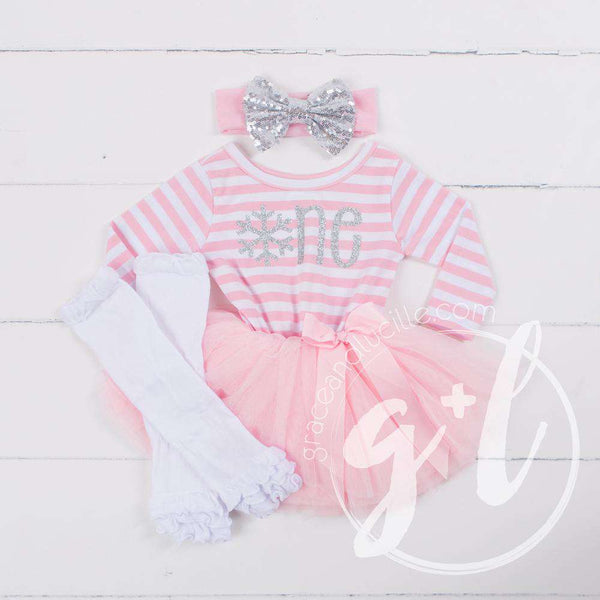 "1st Birthday Winter Wonderland ""ONE"" Pink Stripe Long Sleeve Dress, White Leg Warmers with Pink & Silver Bow Headband - Grace and Lucille"