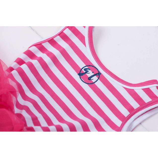 "3rd Birthday Dress Blue Script ""THREE"" Magenta Striped Sleeveless - Grace and Lucille"