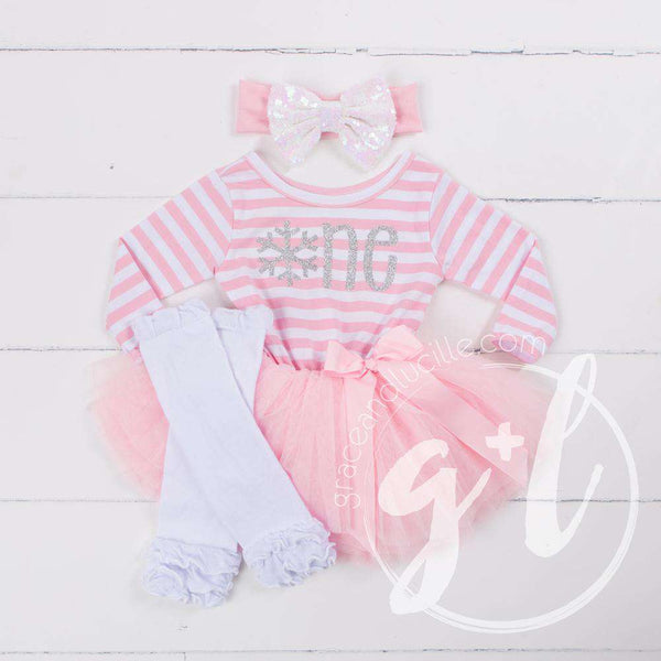 "1st Birthday Winter Wonderland ""ONE"" Pink Stripe Long Sleeve Dress, White Leg Warmers with Pink & White Bow Headband - Grace and Lucille"