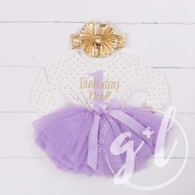 "1st Birthday Outfit ""1"" Gold ""Birthday Girl"" Purple Polka Dot Long Sleeve Dress & Gold Lame Headband - Grace and Lucille"