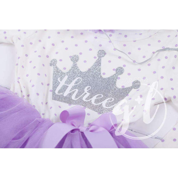 "3rd Birthday Outfit ""THREE"" Silver Crown Purple Polka Dot Long Sleeve Dress & Purple /Silver Party Hat - Grace and Lucille"