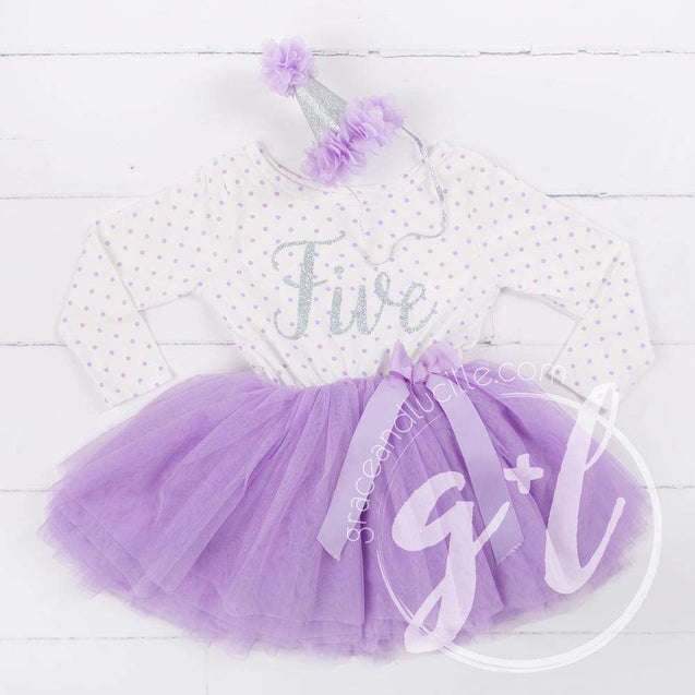 "5th Birthday Outfit Silver Script ""FIVE"" Purple Polka Dot Long Sleeve Dress & Purple /Silver Party Hat - Grace and Lucille"