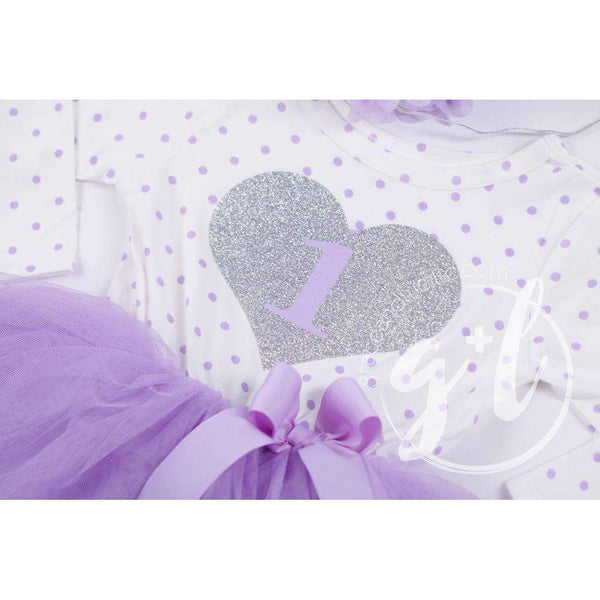 "1st Birthday Outfit Silver Heart & Lavender ""1"" on Purple Polka Dot Long Sleeve Dress & Purple/Silver Party Hat - Grace and Lucille"