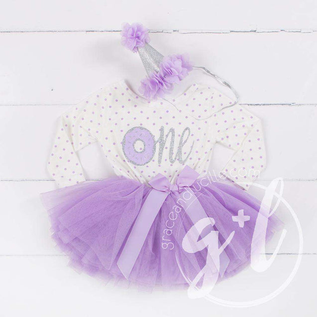 "1st Birthday Outfit Silver Donut ""ONE"" on Purple Polka Dot Long Sleeve Dress & Purple/Silver Party Hat - Grace and Lucille"
