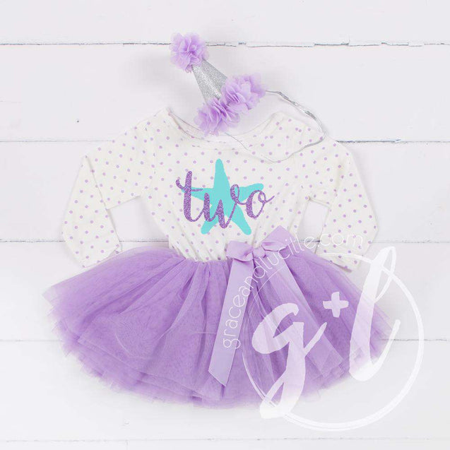 "2nd Birthday Outfit Aqua Starfish ""TWO"" on Purple Polka Dot Long Sleeve Dress & Purple/Silver Party Hat - Grace and Lucille"