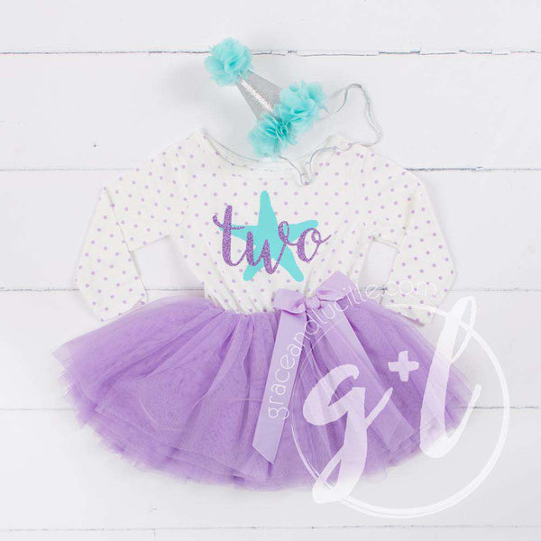 "2nd Birthday Outfit Aqua Starfish ""TWO"" on Purple Polka Dot Long Sleeve Dress & Aqua/Silver Party Hat - Grace and Lucille"