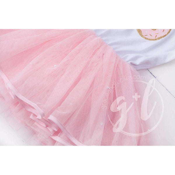 "Birthday Donut Dress ""ONE"", ""TWO"" or ""FOUR"" White with Pink Tutu Sleeveless - Grace and Lucille"