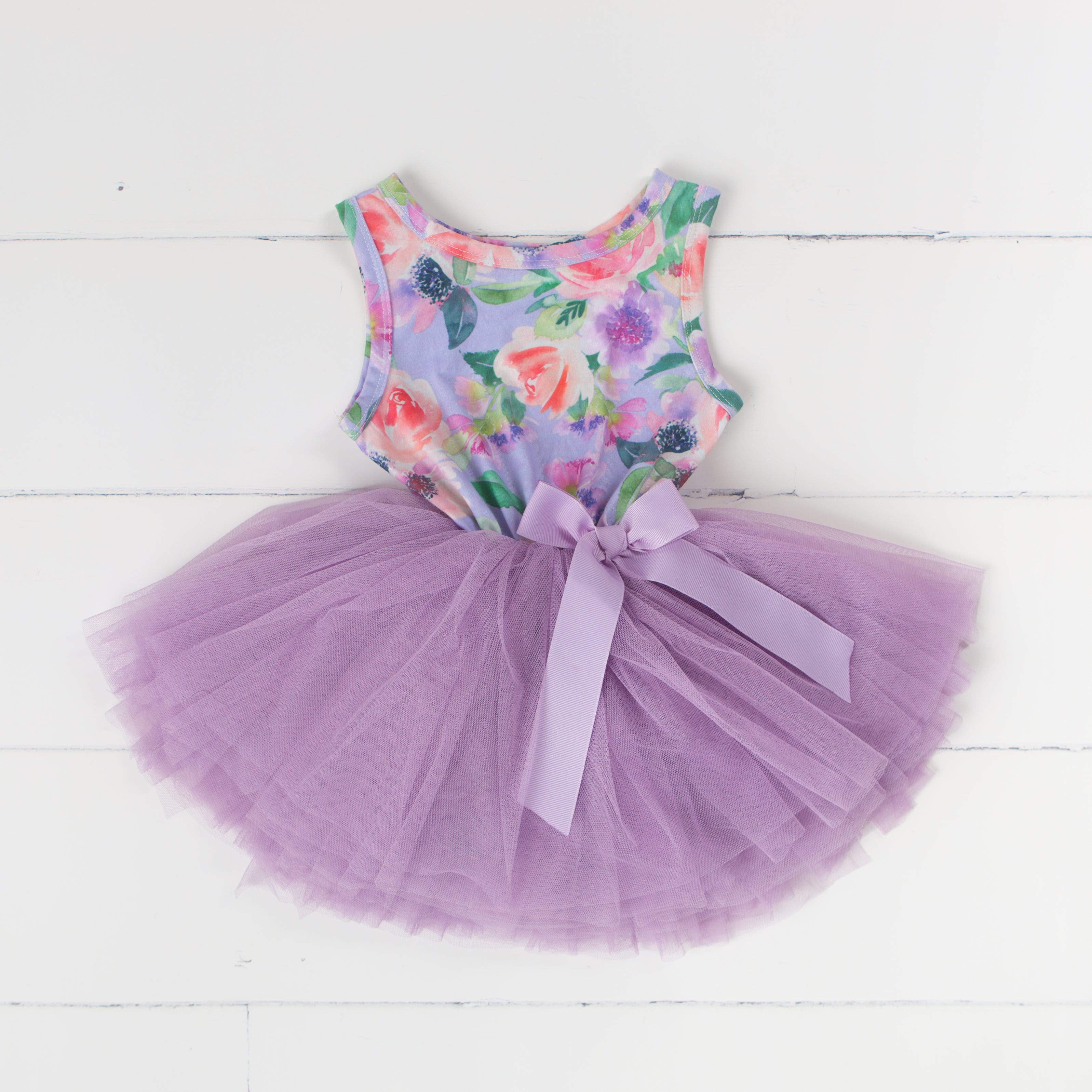 Party Outfit Lavender Floral Sleeveless Tutu Dress