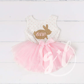 "Easter Bunny 1st Birthday Gold ""ONE"" on Pink Polka Dot Sleeveless Tutu Dress - Grace and Lucille"