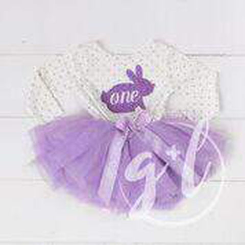 "Easter Bunny 1st Birthday ""ONE"" on Purple Polka Dot Long Sleeve Tutu Dress - Grace and Lucille"