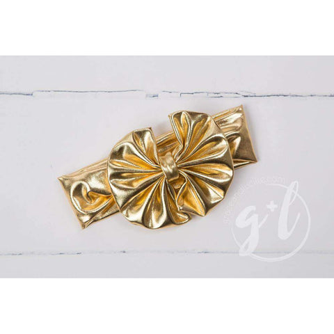 Gold Lame Oversized Bow Headband