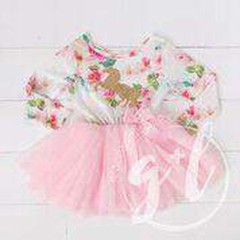 Pink Floral Long Sleeve Tutu Party Dress with Gold Prancing Unicorn