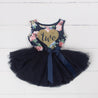 "2nd Birthday Dress Gold Heart ""TWO"" on Navy Floral Sleeveless Tutu Dress"