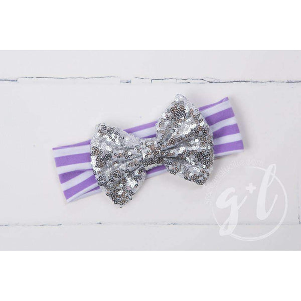 Silver Sequined Bow on Purple Striped Headband - Grace and Lucille