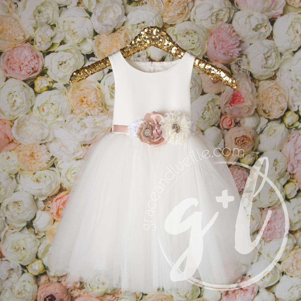 Angelic Flower Girl Pearl White Dress with Blush Champagne Sash, Tulle Gown - Grace and Lucille