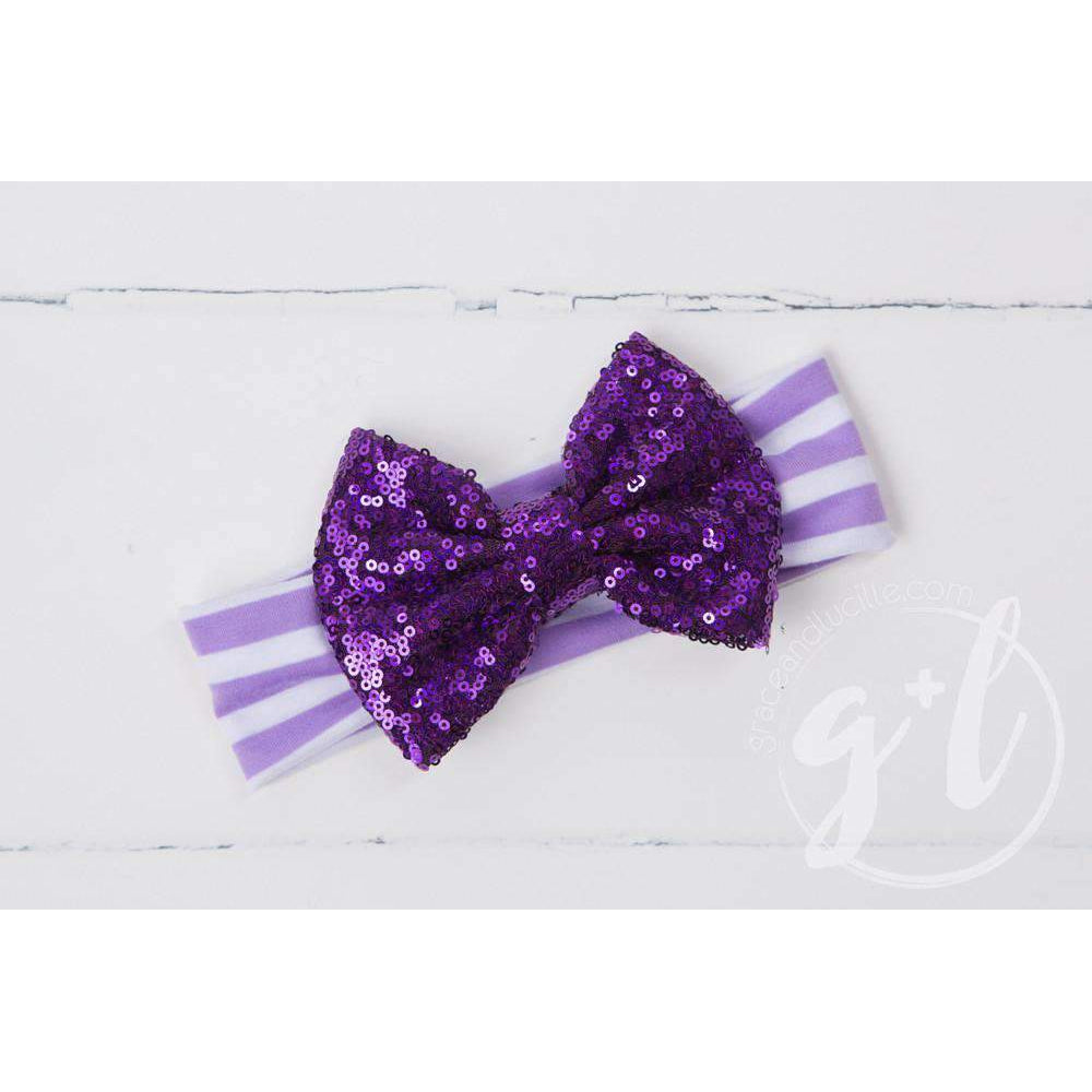 Purple Sequined Bow on Purple & White Strriped Headband - Grace and Lucille