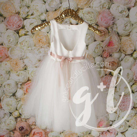 Angelic Flower Girl Pearl White Dress with Blush Champagne Sash, Tulle Gown