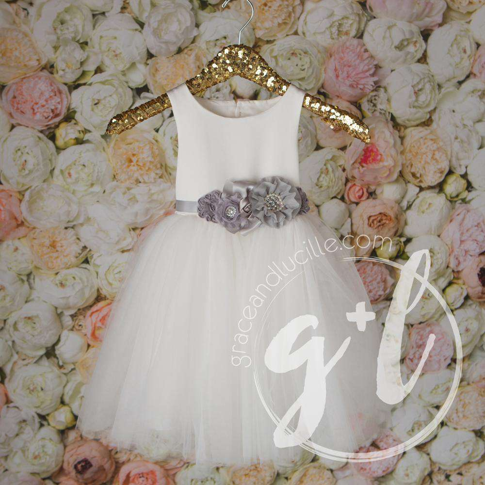 Angelic Flower Girl Pearl White Dress with Charcoal Grey Sash, Tulle Gown - Grace and Lucille