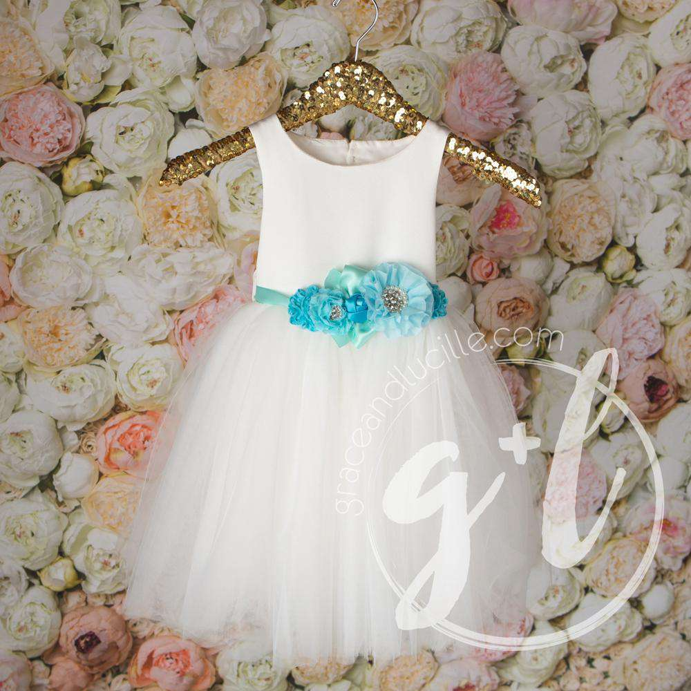 Angelic Flower Girl Pearl White Dress with Aqua Teal Sash, Tulle Gown - Grace and Lucille
