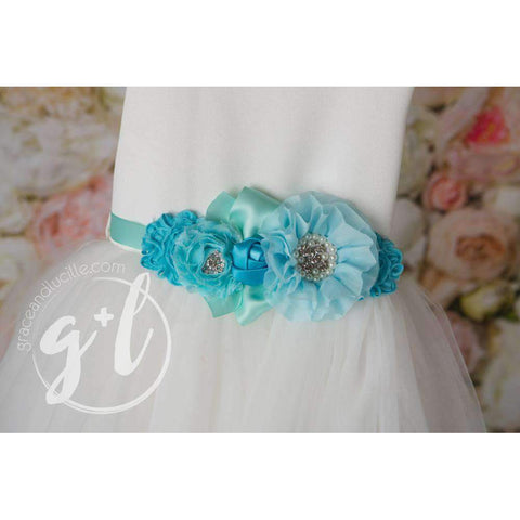 Angelic Flower Girl Pearl White Dress with Aqua Teal Sash, Tulle Gown