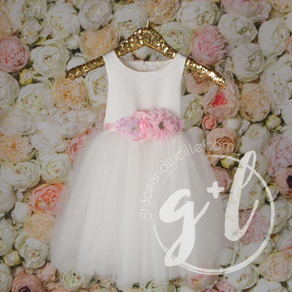 Angelic Flower Girl Pearl White Dress with Rose Pink Sash, Tulle Gown - Grace and Lucille