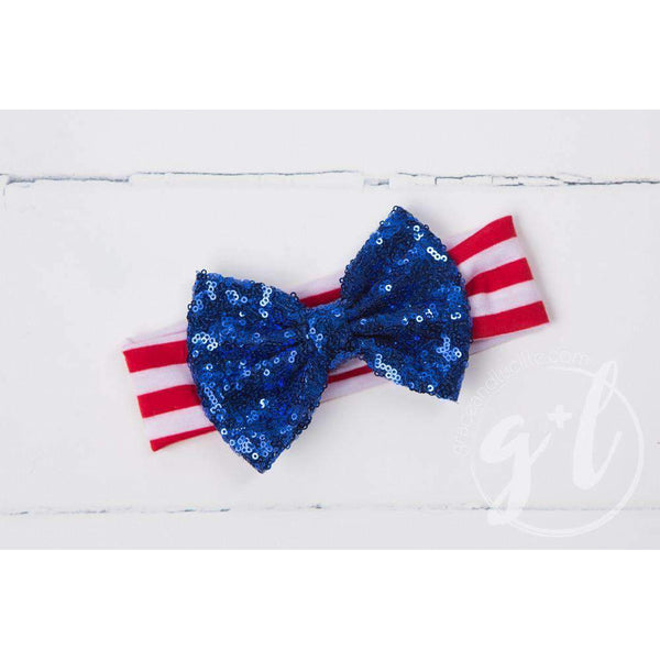 """Miss USA"" 4th of July Onesie Outfit, Red Chevron Leg Warmers & Blue Sequin Bow Headband - Grace and Lucille"