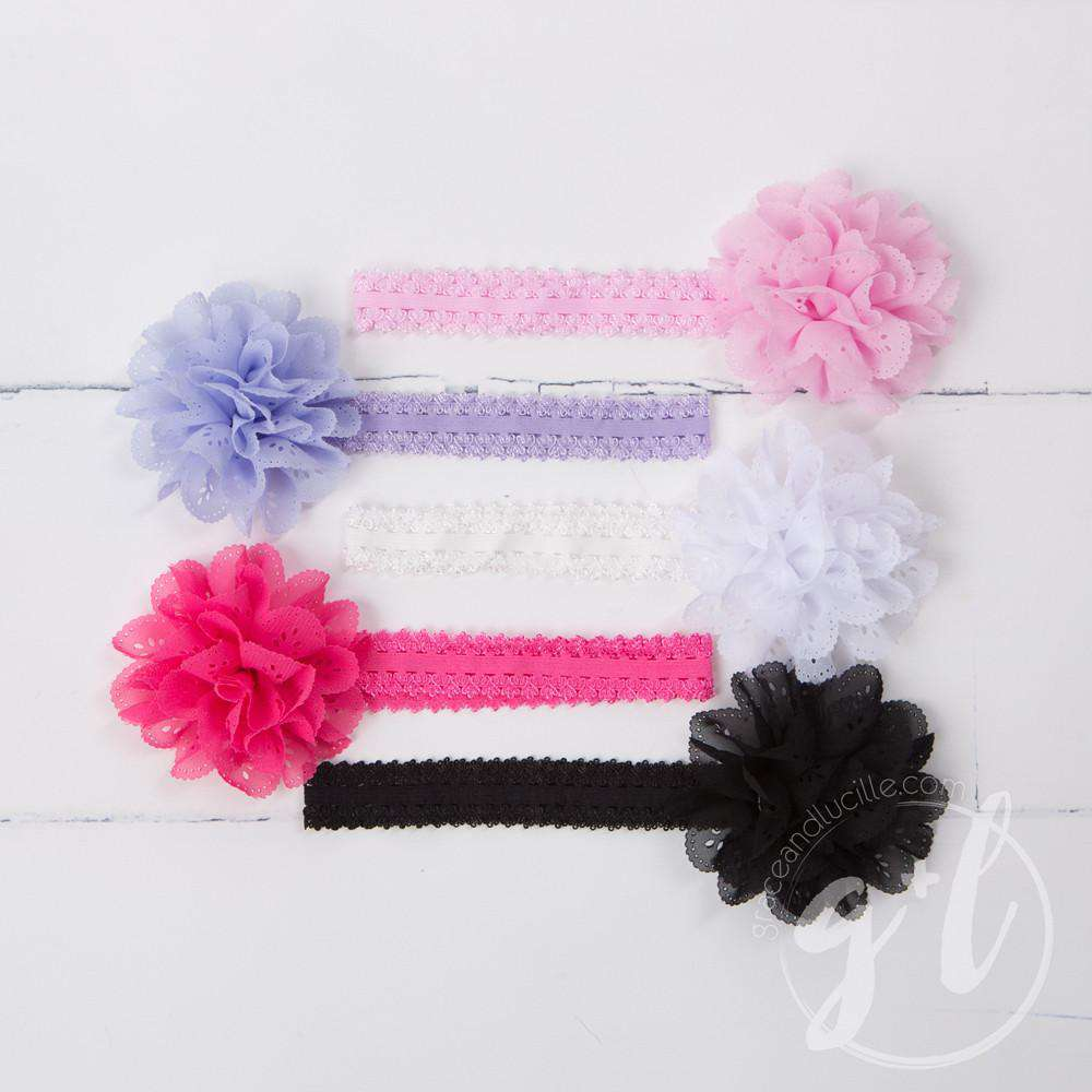 Lacy Flower Soft Headband - Grace and Lucille