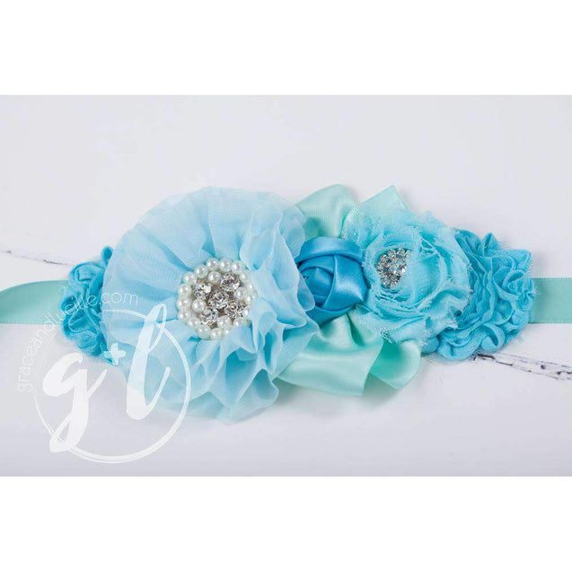 Flower Girl Sash Hand Beaded Flowers in Aqua and Teal - Grace and Lucille