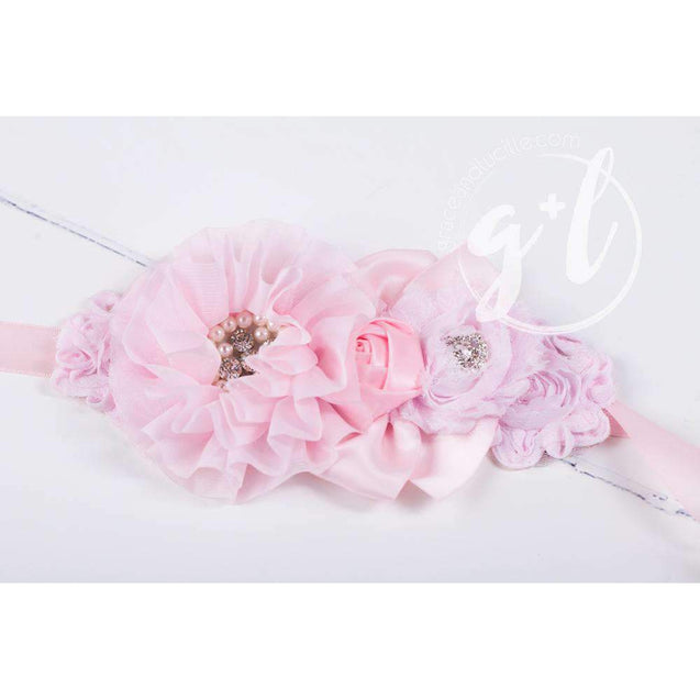 Flower Girl Sash Hand Beaded Flowers in Rose Pink - Grace and Lucille