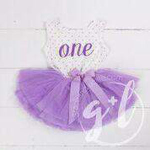 "1st Birthday Outfit Purple Script ""ONE"" on Purple Polka Dot Sleeveless Dress - Grace and Lucille"