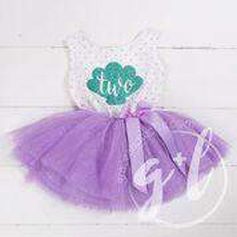 "2nd Birthday Mermaid Outfit Aqua Shell & ""TWO"" on Purple Polka Dot Sleeveless Dress - Grace and Lucille"