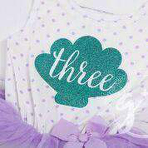 "3rd Birthday Mermaid Outfit Aqua Shell & ""THREE"" on Purple Polka Dot Sleeveless Dress - Grace and Lucille"