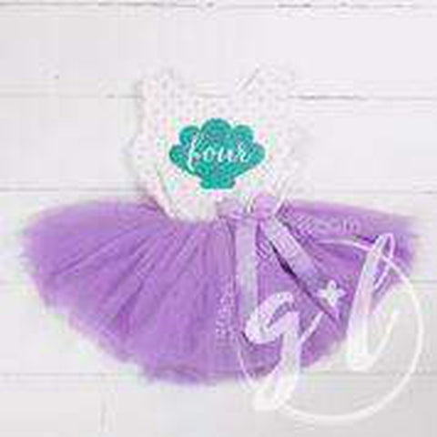 "4th Birthday Mermaid Outfit Aqua Shell & ""FOUR"" on Purple Polka Dot Sleeveless Dress - Grace and Lucille"
