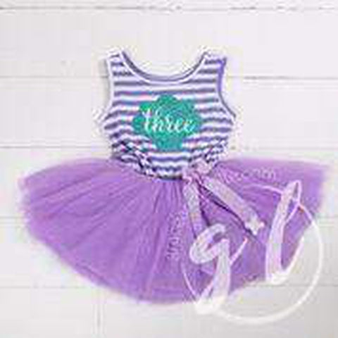 "3rd Birthday Mermaid Dress Aqua Shell ""THREE"" on Purple Striped Sleeveless Dress - Grace and Lucille"