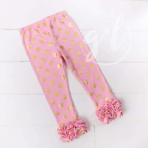 Ruffled Hem Leggings, Pink with Gold Polka Dots