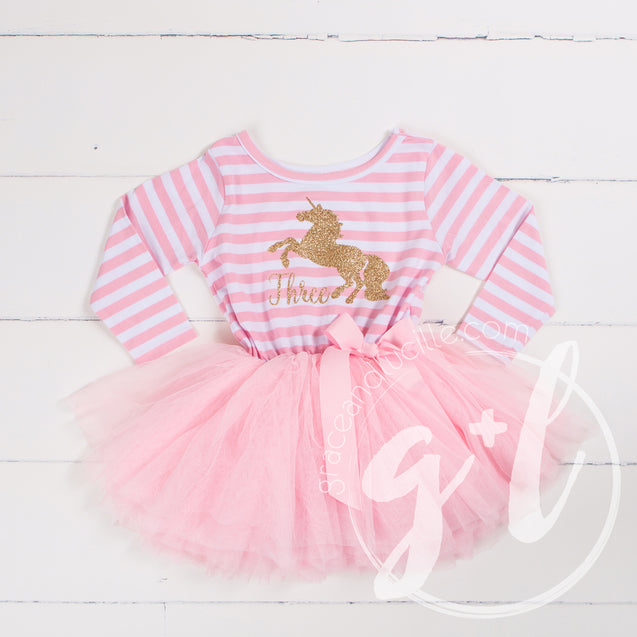 "3rd Birthday Dress Gold Unicorn ""THREE"" Pink Striped Longsleeve - Grace and Lucille"