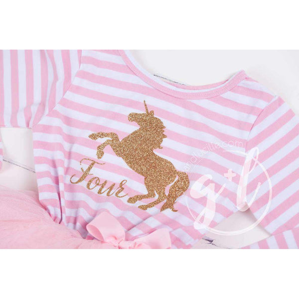 "4th Birthday Dress Gold Unicorn ""FOUR"" Pink Striped Longsleeve - Grace and Lucille"