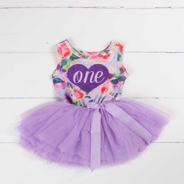 First Birthday Purple Floral with heart, Party Outfit Lavender Floral Sleeveless Tutu Dress