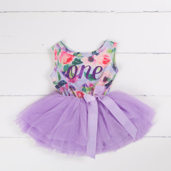 First Birthday Party Outfit Lavender Floral Sleeveless Tutu Dress