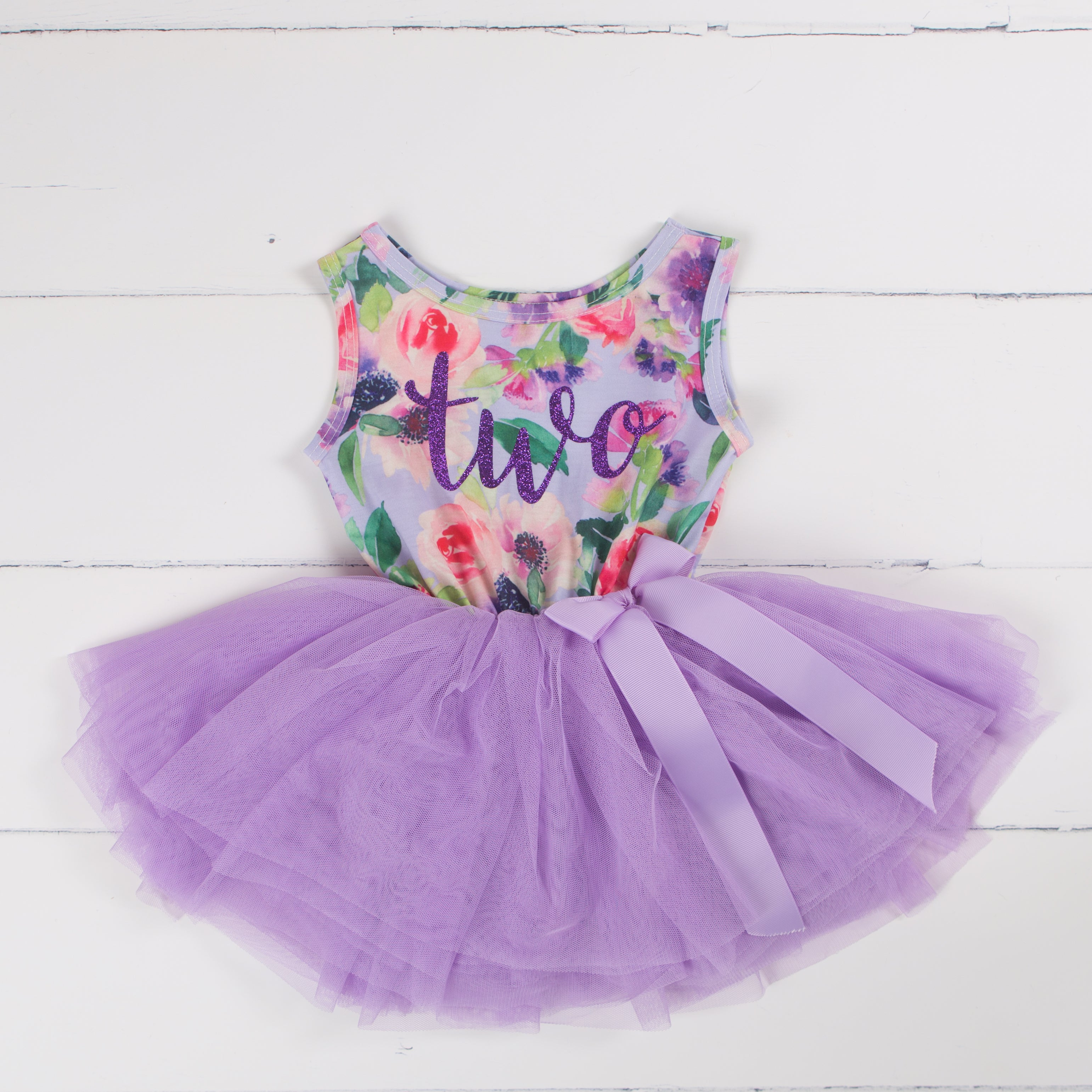 Second Birthday Party Outfit Lavender Floral Sleeveless Tutu Dress