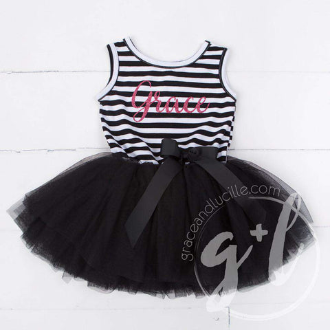 Personalized Name Magenta Script on Black Striped Sleeveless Dress